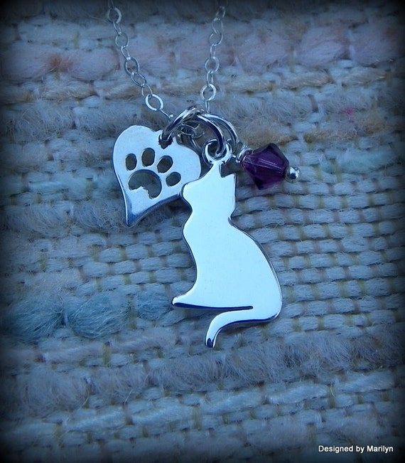 Sterling silver cat necklace, cat and paw necklace, birthstone jewelry, animal lovers jewelry