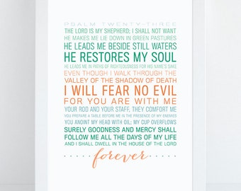 INSTANT DOWNLOAD - Psalm 23 - Bible Verse Wall Art - Scripture Print - DIY Printable - Christian Print