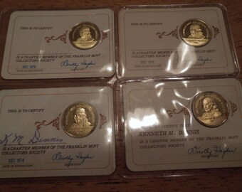 Franklin Mint Collectors Society Gold Over Silver Charter Member Coins Tokens 1971, 74, 75, 76