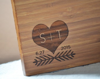 "Personalized Cutting Board ""Modern Carved Heart""  Bamboo Wood for Wedding or Anniversary gift"