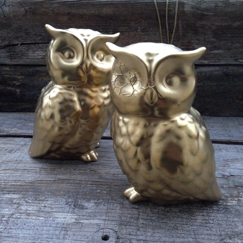 Ceramic owls gold owls home decor owl figurines owl for Owl decorations for the home