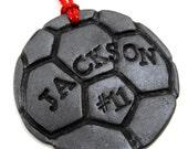 """Großen Fußball Ball Ornament mit Spieler Anzahl & Name - Teamgeist, Geschenke für Fußball-Spieler, """"Soccer Mom"""" Futbol, Weihnachten personalisiert"""