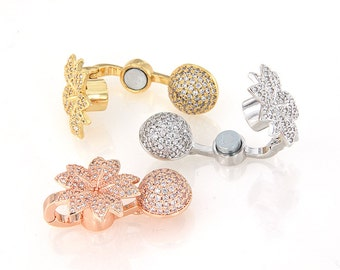 Micro Pave Flower Magnetic Clasp for Bead Necklace, Flower Magnetic Jewelry Clasp, CZ Micro Pave Magnetic Clasp, Pkg of 1 PC, F0RP.P01