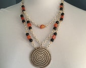 Rosalee Black and Orange Chain Necklace