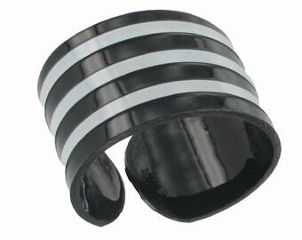 Black White Vinyl Stripe Cuff Wrap Bracelet Vintage 1970s