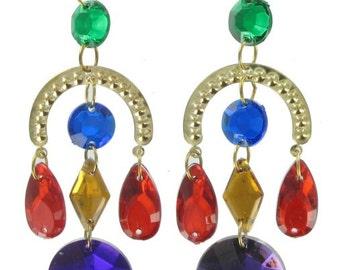 Jewels Chandelier Beaded Earrings Purple  Red Yellow Gold Tone Pierced 1980s