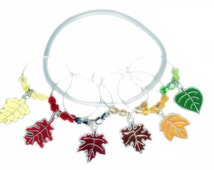 Thanksgiving Wine Charms - Autumn Leaves For Thanksgiving - Autumn Wine Charms - Fall Leaf Glass Tags - Glass Markers - gifts - Party Favors