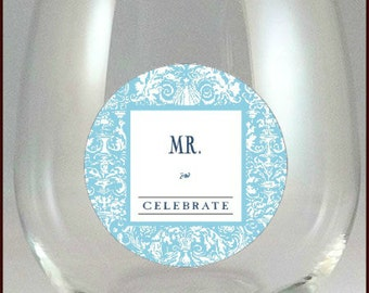 Mr. And Mrs. Glass Decals - Mr. And Mrs. Wine Glass Decals - Mr. And Mrs. Wine Charms - Glass Tags, Mr. And Mrs. Gifts, Glass Not included