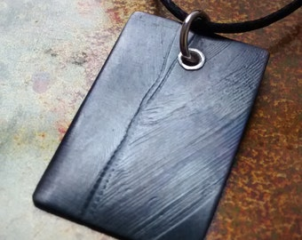 Small Oxidised Copper Feather Tag Pendant