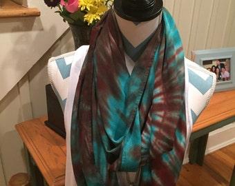 Tye dye scarf, Hand dyed infinity scarf, Hand dyed scarf,  Brown/jade infinity scarf, Hippie wear, Groovy, Rayon scarf