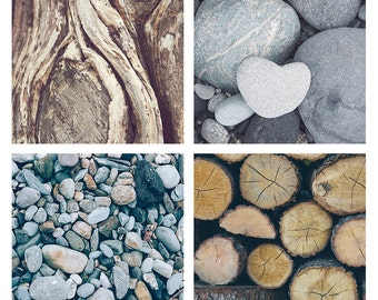 Set of 4 Wood & Stone - Photographic print - grey, brown, natural, autumn, folk, boho, art, lodge, decor, square, 12 x 12, 16 x 16 20 x 20