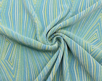 Electro Aqua Yellow Pleated Knit Fabric - 1 Yard Style 8001