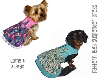Suspender Dog Dress Pattern 1583 * Large & XLarge * Dog Clothes Sewing Pattern * Dog Harness Dress * Pet Dress Pattern * Little Dog Clothes