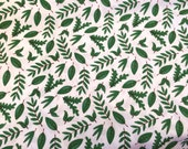 CRITTER'S LEAVES cotton fabric. Sold by the yard - Studio E - 100% cotton - Robin Roderick - Green leaves on white - Quilting quality