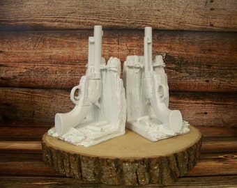 Gun Bookends, Bookends, Western Decor, Rustic Bookends, Pistol Bookends, Just for Him, Rustic Decor