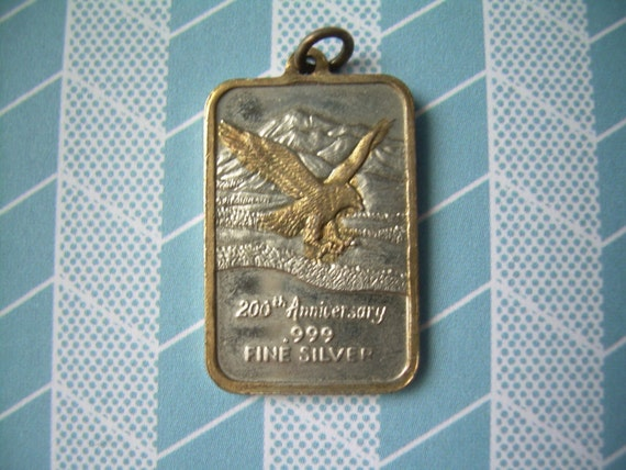 RESERVED For Ronald-5 Gram INGOT Pendant-Collectible 200th Anniversary Gold Eagle-Vintage FINE 999 Sterling Silver-Commemorative Art Bar
