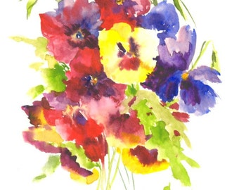 Colorful Pansies Painting, original watercolor painting, 12 X 9 in, yellow burgundy blue wall art