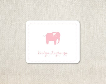 Pink elephant little girls enclosure cards calling cards