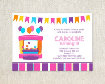 Pink and purple bouncy house birthday party invitations
