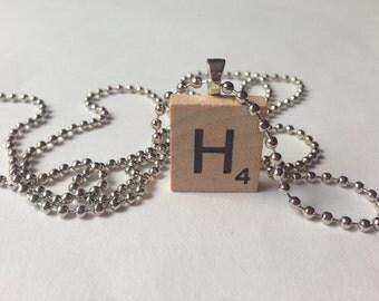 Scrabble Tile Alphabet Letter Necklace H