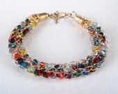 Colorful Snake Bracelet Swarovski crystals with crochet 14K gold filled wire