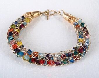 Shiny Jewellry  Colorful Bracelet Swarovski crystals crochet 14K gold filled wire