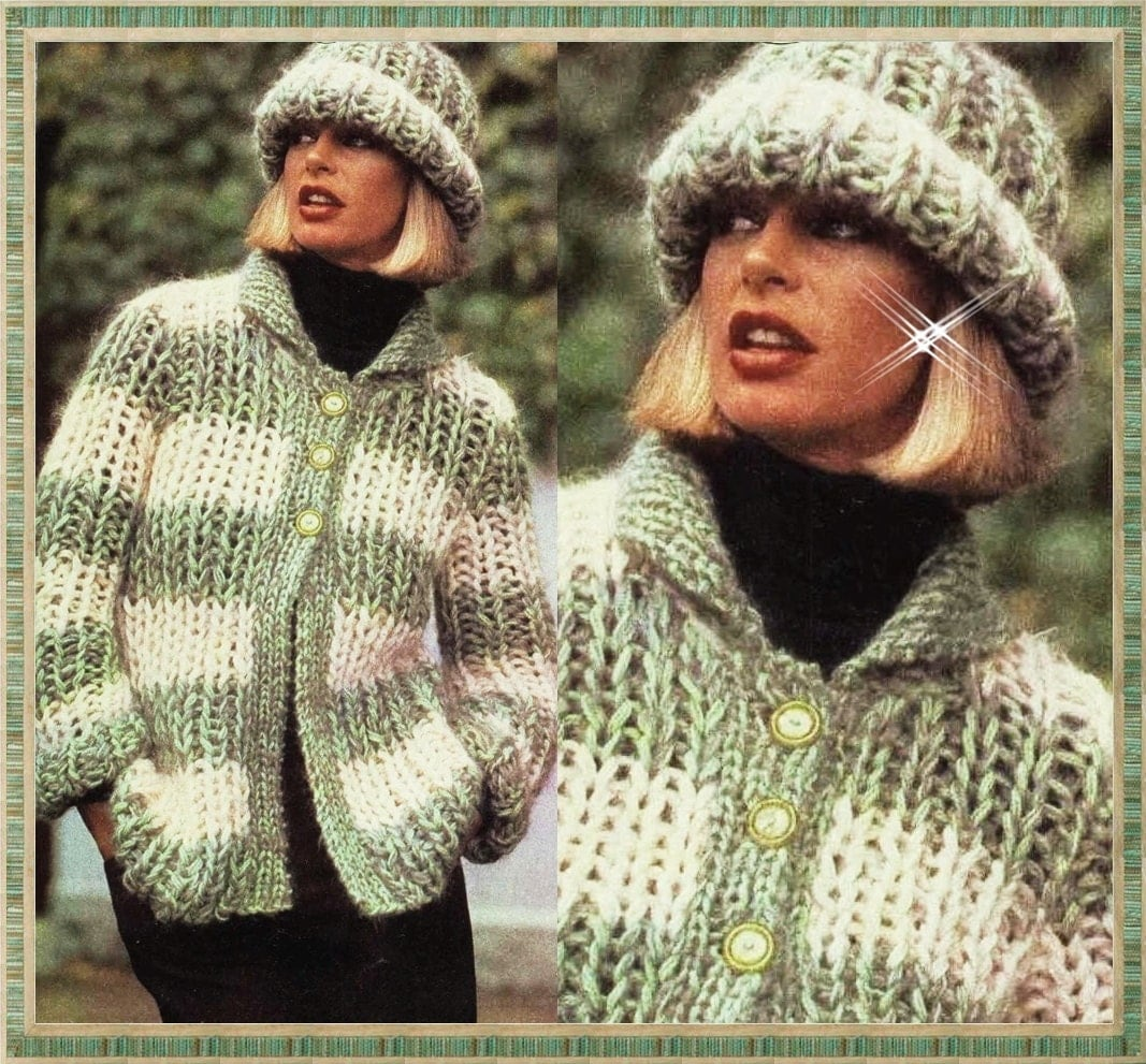 KNITTING PATTERN Vintage Chunky Cardigan Sweater and