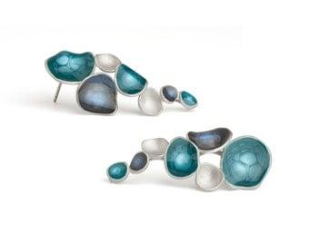 dark blue earrings cobalt blue studs blue silver earrings cascade earrings colorful jewelry enamel jewelry everyday earrings