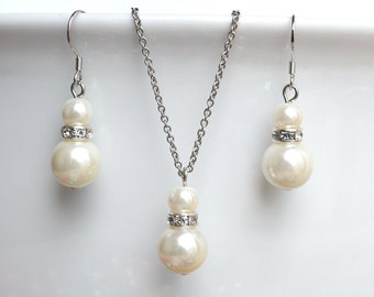 Ivory Pearl Set,Pearl Necklace Earrings Set,Wedding Jewelry,Bridesmaid Gifts,Pearl Pendant Necklace And Dangle Earrings,from shipping to USA