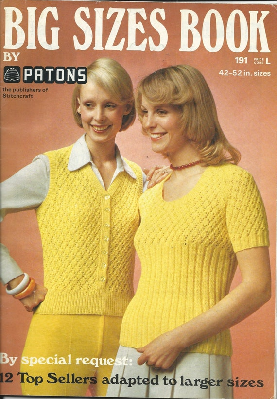Knitting/Crochet Pattern Book - PLUS-SIZE PATTERNS - 12 Designs for Men &...