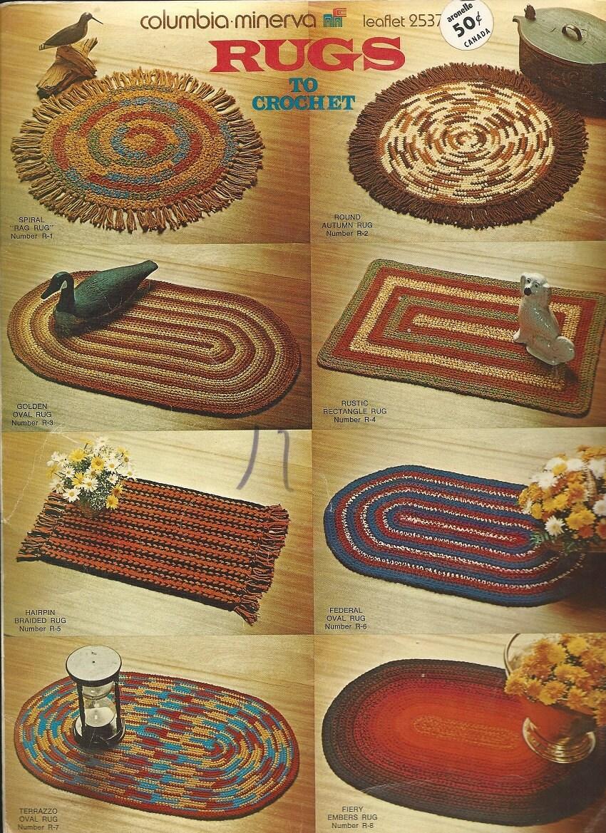 Free Crochet Pattern Leaflets : 1970s RUGS TO CROCHET Pattern Leaflet Columbia Minerva using