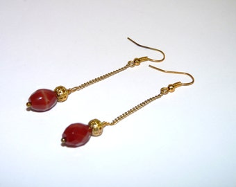 Earrings, Red Agate, Gold Chain, Drops, Shoulder Dusters, Burlesque Style, Dangles, Long
