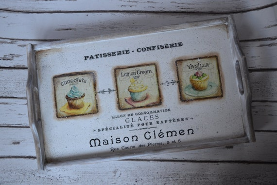 Patisserie- Vintage Serving Tray, breakfast Tray can be personalized- great as  a Wedding Gift, Anniversary, Special Occasions