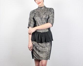 Vintage 80s Dress Mini Dress Black Champagne Gold Dress Peplum Skirt 1980s Dress New Wave Snakeskin Print Party Peplum Dress M L Large XL