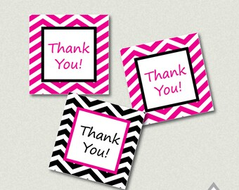 Hot Pink and Black Chevron Printable Thank you Tags - Printable PDF - Instant Download - Immediate Download