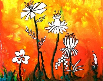 Flower painting Christian art PRINT Grow Where You are Planted art from original painting bright colors encouragement artbyevelynmarie
