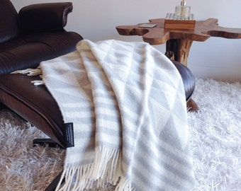 SALE!!! Geometric 100% Wool Jacquard Blanket in Light Grey and White