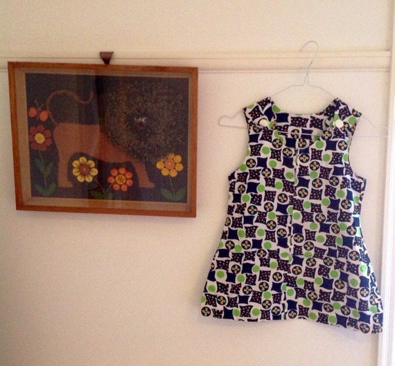 1970s vintage girls shift dress psychedelic 60s cotton mini 8 years approx