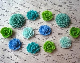 Fridge Magnets, 12 pc Flower Magnets, Green, Aqua, Blue, Turquoise, Kitchen Decor, Stocking Stuffer, Small Gift, Wedding Favors