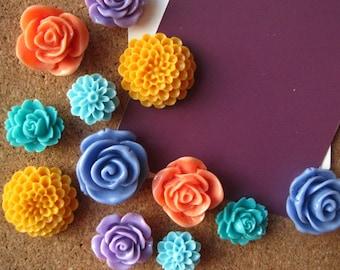 Thumbtack Set, 12 pc Pushpin Set in Mixed Colors, Bulletin Board Tacks, Wedding Decor, Gifts, Housewarming Gift