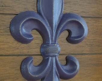 Fleur de lis metal wall decor scrolled wrought iron wall art fleur de lis wall decorpurple or pick your colorcast iron wall decor ppazfo
