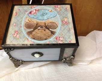 childs stained glass memory/keepsake shabby chic cottage chic box