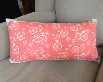 Birch Organic Bicycle Wheels and birds Rectangle Cushion with striped back 55cm x 30cm