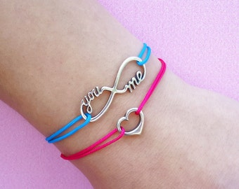 Sterling Silver Infinity You and Me Bracelet, cord bracelet with infinity charm