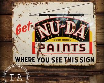 Vintage Nu-Da Paints Metal Advertising Sign