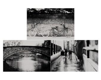 cambridge photograph english decor cambridge print set bridge photograph bicycle photograph street photography travel photograph