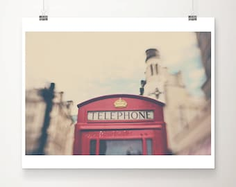 telephone box photograph, red, telephone, telephone box, london photograph, london, english decor, color photography, architecture photo