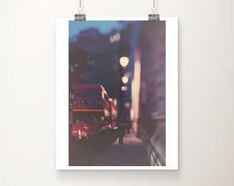 london photograph red bus photograph london decor night photograph travel photography london print english decor red london bus print