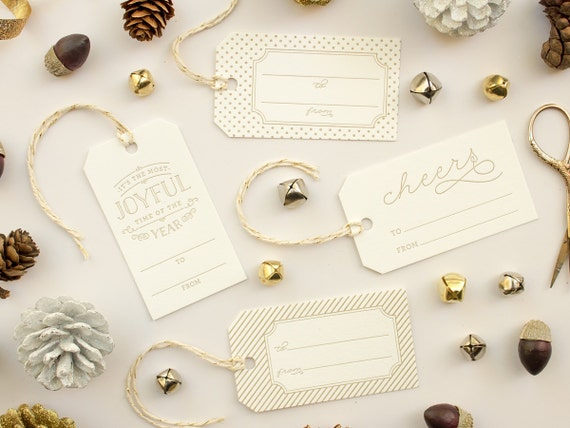 Letterpress Gift Tags, Gold Christmas Tags, Christmas Gift tags with Baker's Twine, Gold Letterpress Tags Label