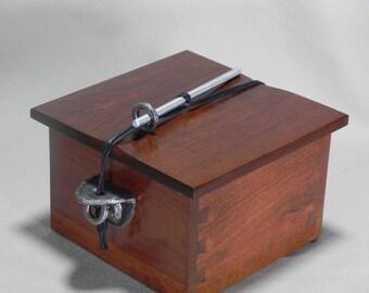 Pet urn #6 Pet urn, Wood pet urn, Cremation urn, Wood urn, Memorial urn, with fine pewter side brackets.